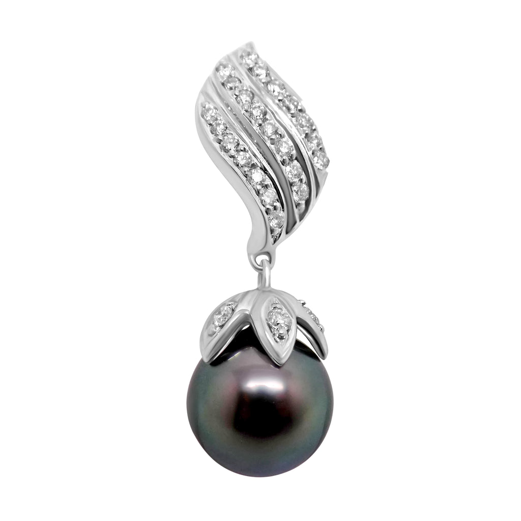 9mm Black Tahitian Pearl Peacock overtones & .50 ct. Diamond Pendant 18k WG Claw