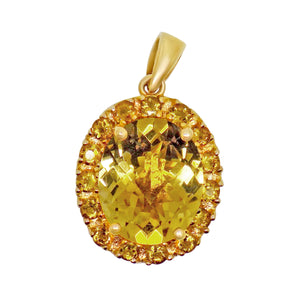 4.7 cttw Natural Citrine cluster pendant large 12x10mm center stone 10k solid gold 138