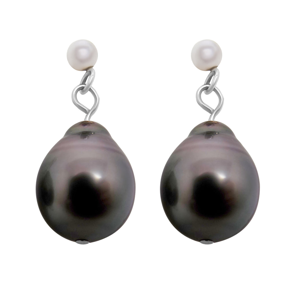 11x8mm Natural Tahitian Pearl Dangle Earrings 14K Solid White Gold NEW 028