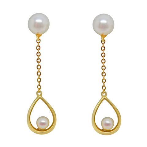 "18k Solid Gold 1 3/8"" Dangly Natural Pearl Pierced Earrings NWOT 014"