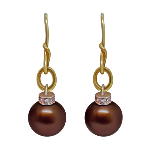 10k Solid gold 11mm Chocolate Brown Pearl Natural Diamond Pierced Earrings 031