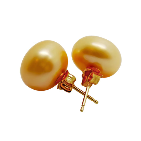 11mm Golden colored Freshwater Pearl Pierced Earrings 14k   Large Size Studs 027