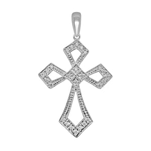 18k Solid Gold Cross Pendant with .10 cttw Natural Diamonds   NEW 112