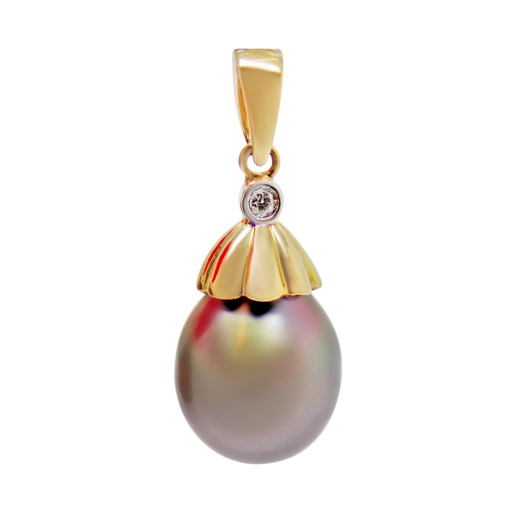 12mm Tahitian Pearl & Diamond Pendant Plum overtones 14K Yellow Gold NEW 126