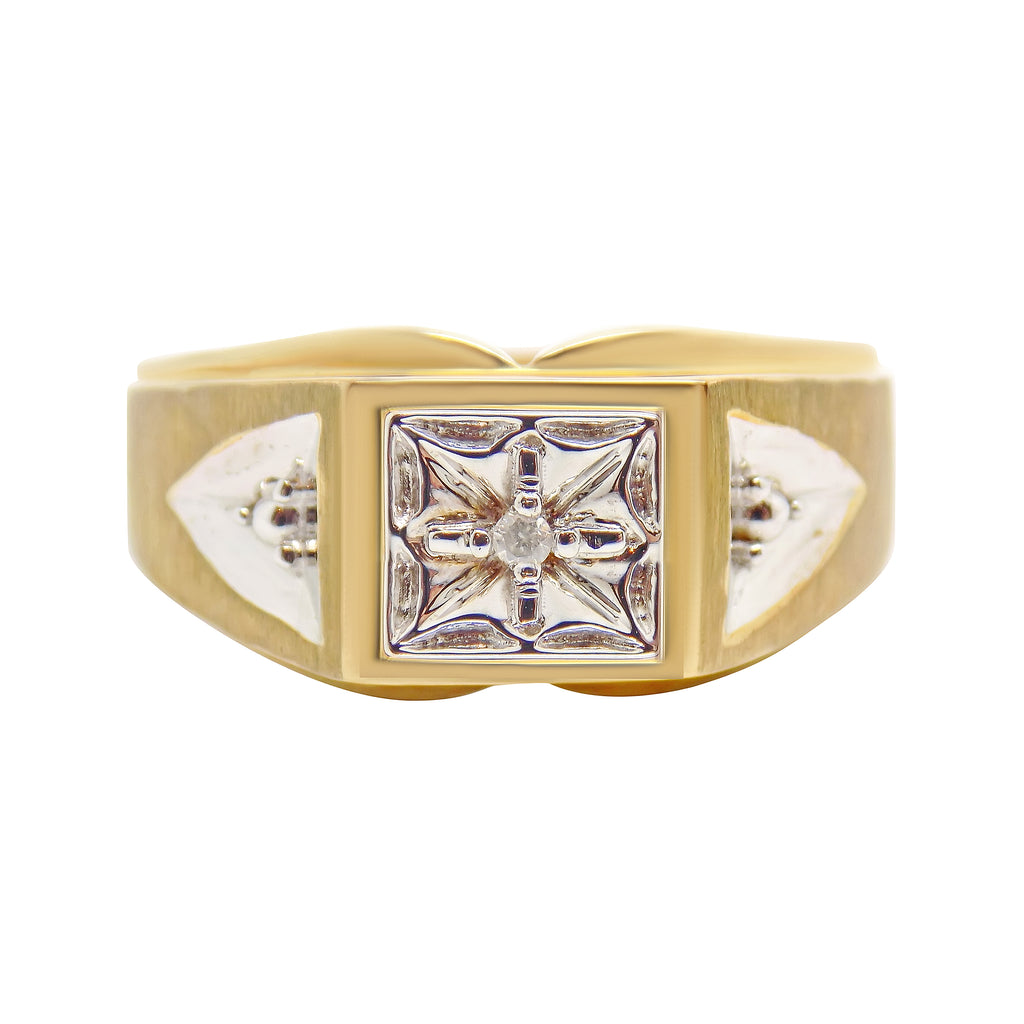 MENS Diamond Accent Ring 10K Solid Gold Band 4.8 grams - NEW