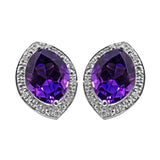 3 Cttw Natural African Amethyst & .08 Diamond Earrings in 14k Solid Gold - 064