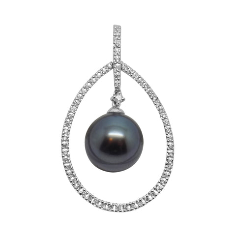 11mm Tahitian Pearl & .20 ct. Diamond Pendant in 14k Solid Gold - NEW Large 180