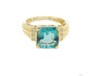4 Ct. Natural Color-change Fluorite & Diamond Ring 14k Solid Gold NEW