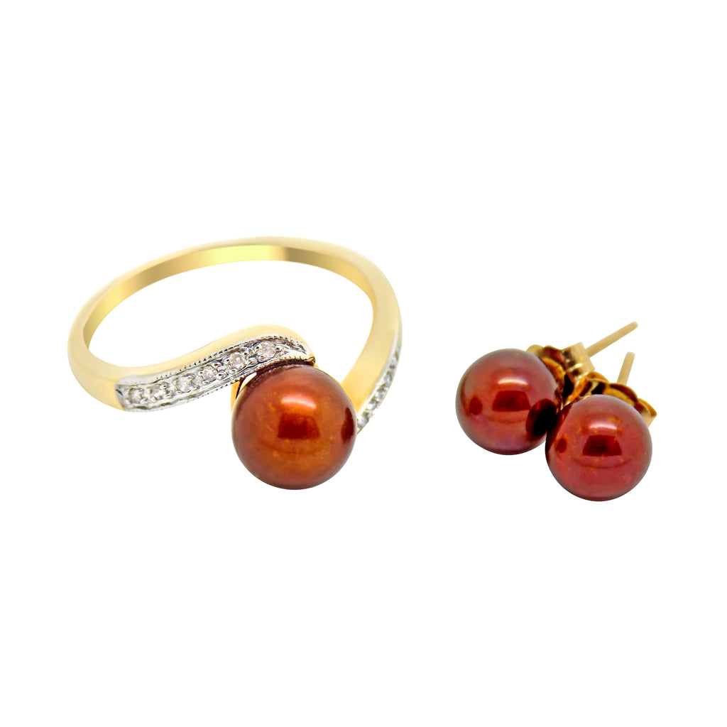 2 Piece Pearl Diamond Jewelry set Ring Earrings Brown Freshwater 14k NEW 601