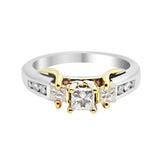 .75 Ct. 3-Stone Princess Cut Diamond Engagement Ring 14K 2-Tone