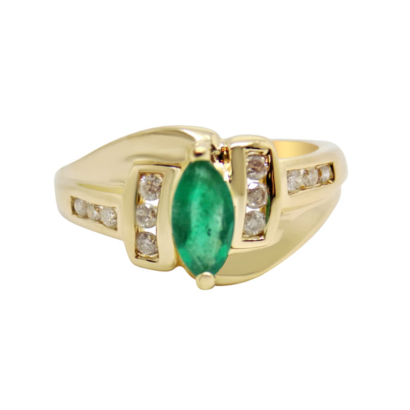 .5 Ct Natural Emerald & .25 Ct Diamond Ring 14k NWT