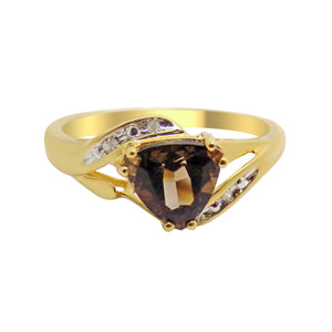Natural Smokey Quartz & Diamond Accent Ring NEW 10k Solid Gold - Trillion Cut