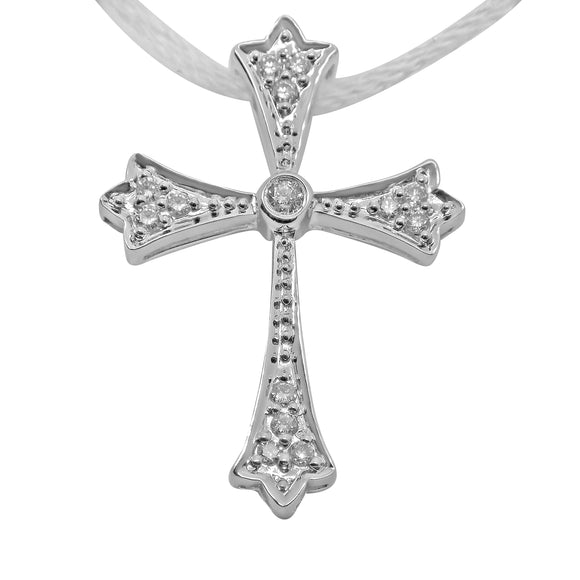 18k Solid Gold Cross Pendant .20 Ct Natural Diamond - Celtic Design NEW 184