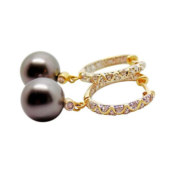 9.6mm Gray Tahitian Pearl & .22 cttw Diamond Hoop Earrings 14k Solid Gold 065