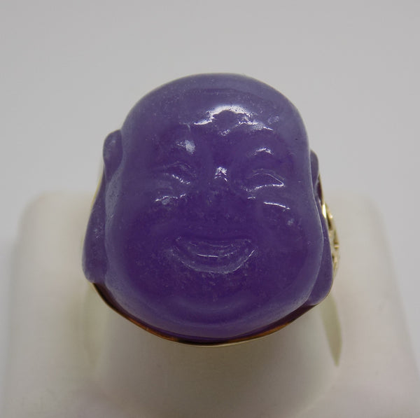 Large Carved Purple Jade Smiling Buddha Ring 14k Solid Gold - NEW - 12 grams!