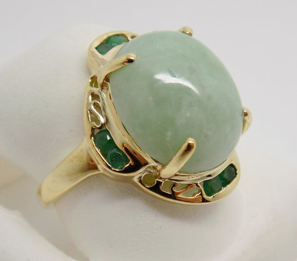Large Jade & Emerald Ring 14K  NEW 14X12mm Genuine, Brand NEW