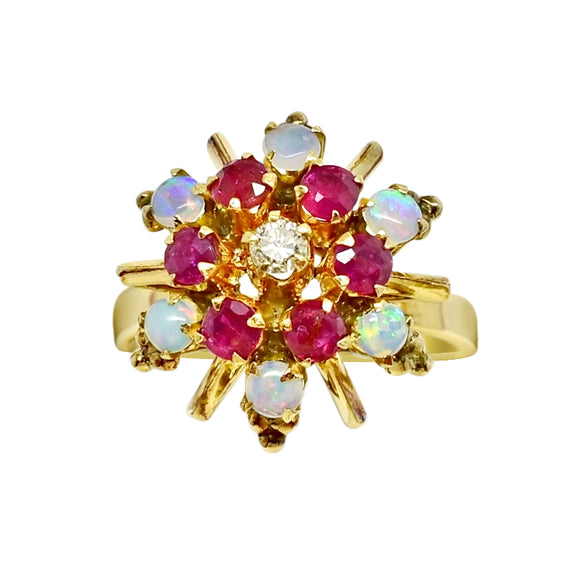 Natural Opal, Ruby & Diamond One of a Kind Ring 14k - NEW