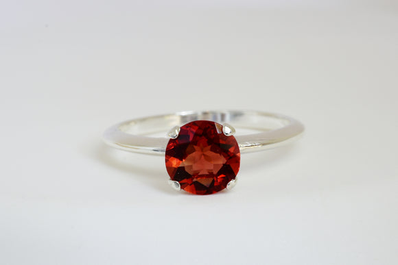 SOLD 7mm Red Labradorite Andesine Solitaire Ring Set in Sterling Silver .87 Ct Bright Reddish Orange Color