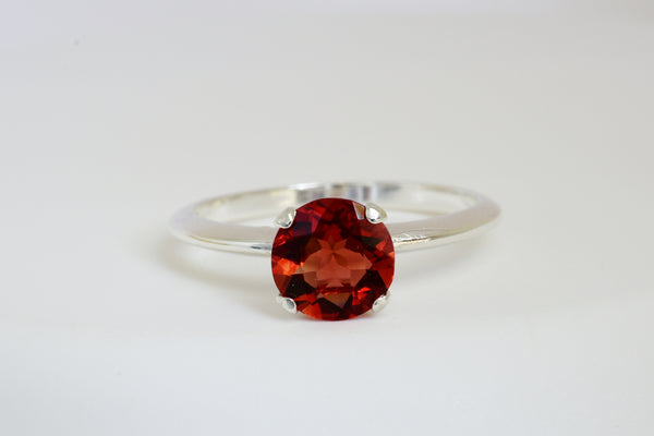 7mm Red Labradorite Andesine Solitaire Ring Set in Sterling Silver .87 Ct Bright Reddish Orange Color