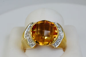 6 Ct Natural Checkerboard Top Citrine & Diamond Ring 18k Solid Gold Sz 7 NWT 301