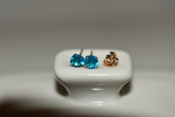 4mm Natural Neon Apatite Stud Pierced Earrings in 14k Solid gold settings with Butterfly Backs .30 cttw Round Cut Rare Find
