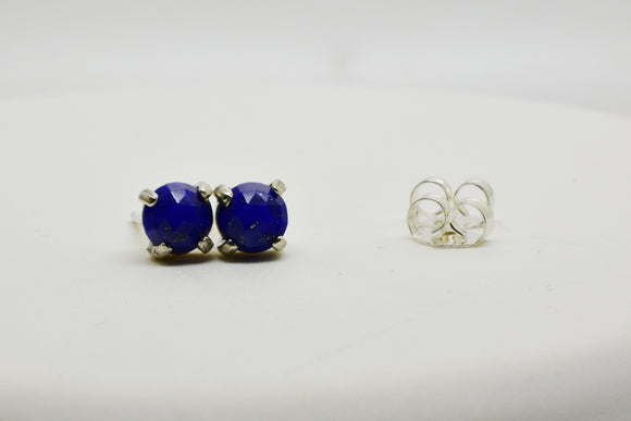 5mm Natural Lapis Lazuli Pierced Earrings in 4 Prong Stud Setting Sterling Silver Butterfly Backs Faceted Round Cut Gemstones