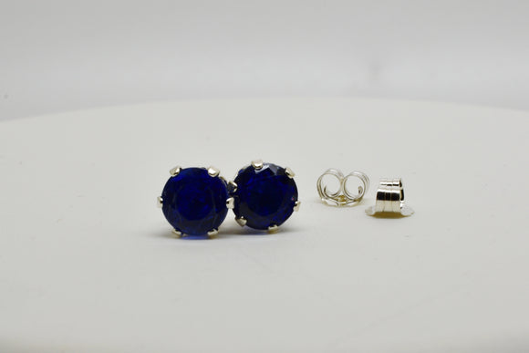 6mm Natural Kyanite Pierced Earrings in Round Cut Stud Sterling Silver settings 2.3 Cttw - Amazing Deep Blue Color Rare Find