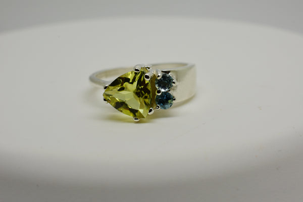 1.6 carat Natural Lemon Topaz & Aquamarine ring in Asymmetrical Sterling Silver Setting Size 7 - Yellow and Blue - Trillion and Round Cut