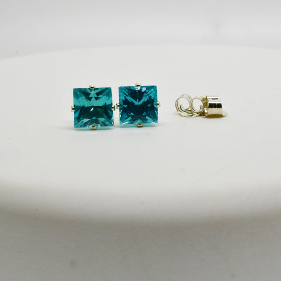 6mm Princess Cut Natural Neon Apatite Pierced Earrings Stud Sterling Silver settings 2.3 Cttw - Amazing Electric Aqua Blue Color Rare Find
