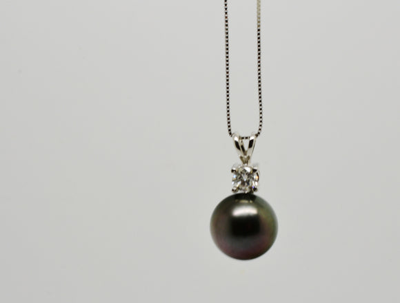 11mm Black Tahitian Pearl and .35 Ct Diamond Pendant with 18