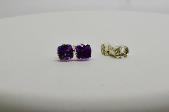 4mm Natural Amethyst Pierced Earrings in 4 Prong Stud Setting Sterling Silver Butterfly Backs .60 cttw Cushion Cut Gemstones