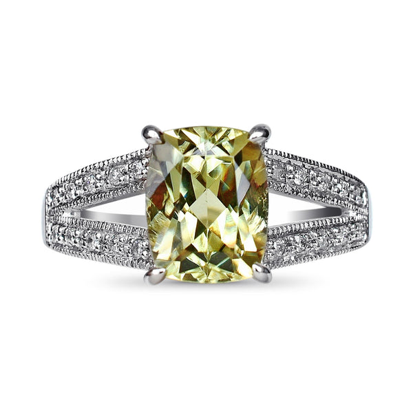 2.57 Ct. Natural Zultanite & .17 Ct. Diamond Ring 14k Solid Gold Cert Of Auth RA01678