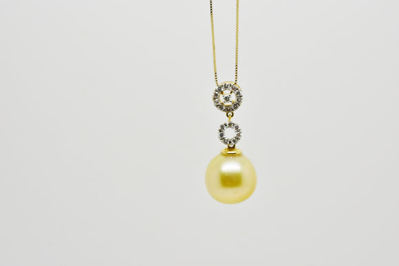 12.25mm Golden South Seas Pearl and .38 Cttw Diamond Pendant with 18