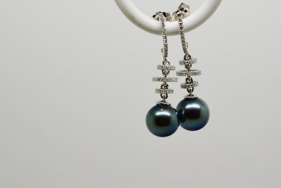 8.5mm Black Tahitian Pearl with Bluish Overtones & .28 Ct. Diamond Earrings in 14k Solid Gold - Whimsical 5 Station Design