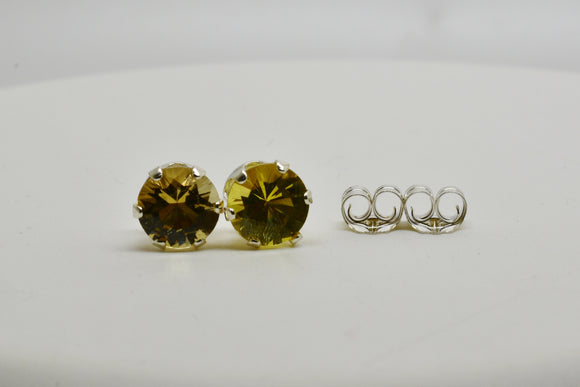 6mm Natural Heliodor Pierced Earrings Round Cut Stud Sterling Silver settings 1.3 Cttw Hard to Find in this size! Also known as Yellow Beryl