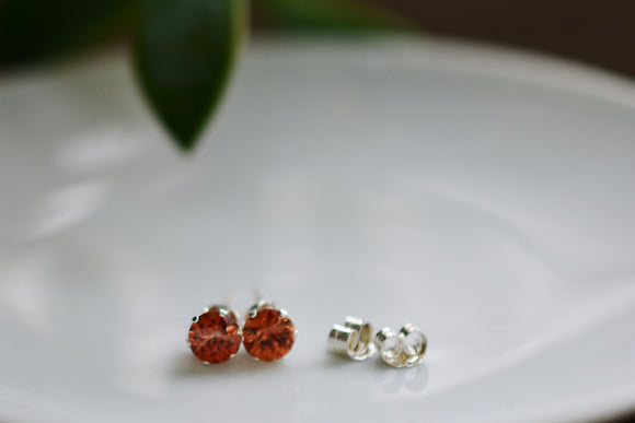 1.36 Ct. Natural Orange Zircon Stud Pierced Earrings in Sterling Silver 5mm Round Cut - Unique Top Color Stones! Great Fall Color