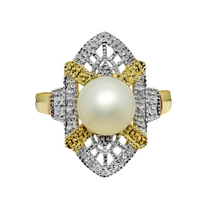 8.5mm Cultured Pearl & .04 Ct Diamond Ring Two-Tone 14k 401