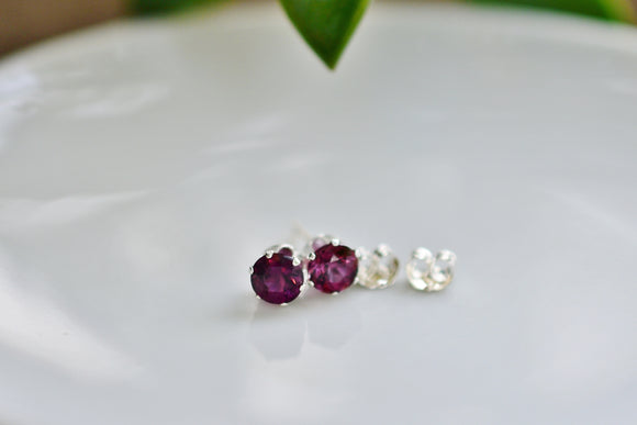 1.18 Ct. Natural Purple Spinel Stud Pierced Earrings in Sterling Silver 5mm Round Cut Gorgeous Gemstones with Unique Top Color