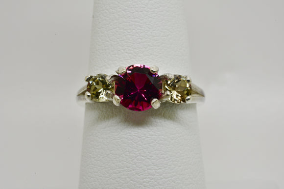 1.48 cttw Natural Pink Tourmaline & Diaspore Ring in Sterling Silver - 6mm Center Stone, 4mm Side Stones All UNTREATED Gems - Cert of Auth