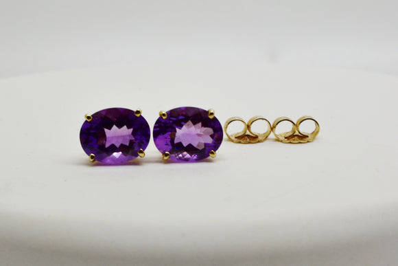 9x7mm Natural Amethyst Stud Earrings in 10k Solid Gold - 2.8 Cttw February Birthstone -