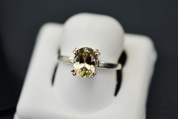1.3 Ct Zultanite Solitaire Ring in Sterling Silver Setting 6x8mm Natural Untreated Color Changing Gem w Cert of Auth F006R