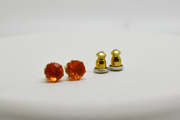 5mm Natural Mexican Fire Opal Stud Pierced Earrings in 14k Gold Plated Sterling Silver Settings with Push Backs .73 cttw Orange Color
