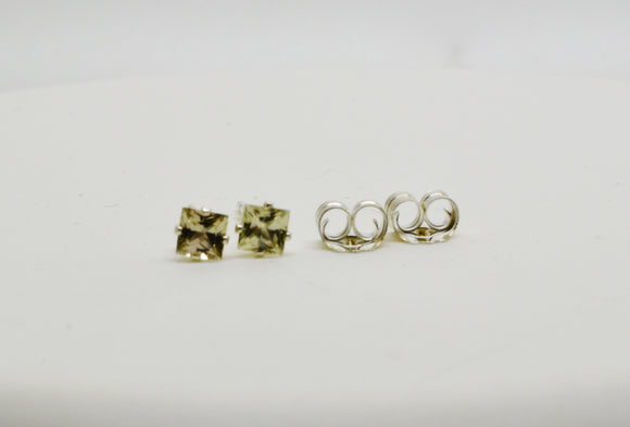 Stunning 3mm Authentic Turkish Diaspore Pierced Earrings Princess Cut Stud Sterling Silver settings .36 cttw Includes Display Box & Shipping