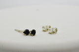 3mm Natural Black Spinel Stud Pierced Earrings in Sterling Silver .30 cttw Round Cut