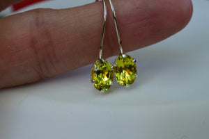1.67 Ct Canary Yellow Tourmaline Pierced Earrings 7x5mm oval cut natural gemstones in six prong dangle setting Sterling Silver