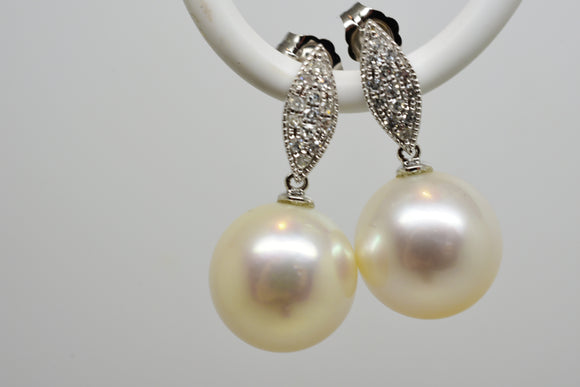 11.6mm White South Seas Pearl & .20 Ct Diamond Earrings 14k White Gold - Matching Necklace available
