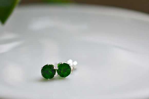 1.15 Ct. Natural Chrome Diopside Stud Pierced Earrings in Sterling Silver 5mm Round Cut - Vibrant Top Color Stones!