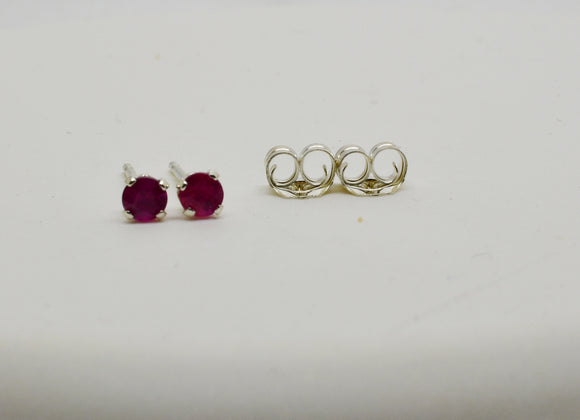 3mm Natural Ruby Stud Pierced Earrings in Sterling Silver .25 cttw Round Cut - July Birthstone