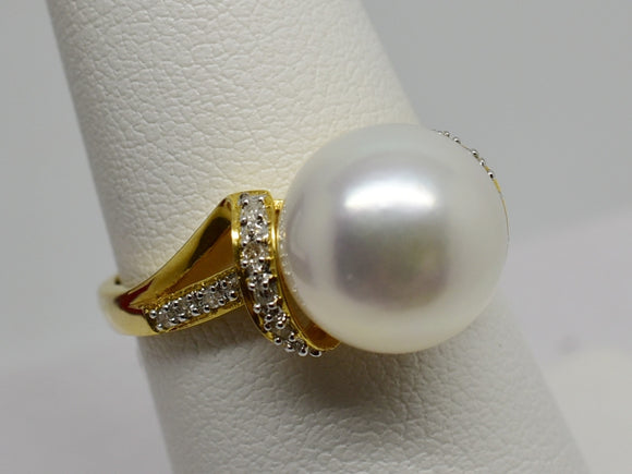 18K Solid Gold Ring 10mm Freshwater Pearl & .09 cttw natural Diamonds  NWT 352