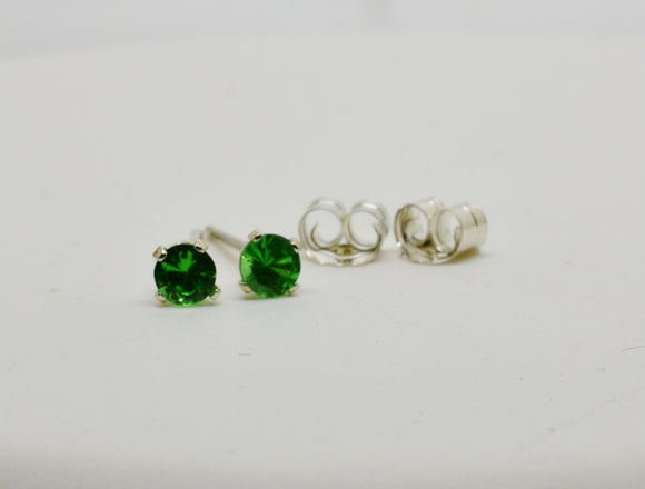 SOLD 3mm Natural Tsavorite Stud Pierced Earrings in Sterling Silver .25 cttw Round Cut - January Birthstone